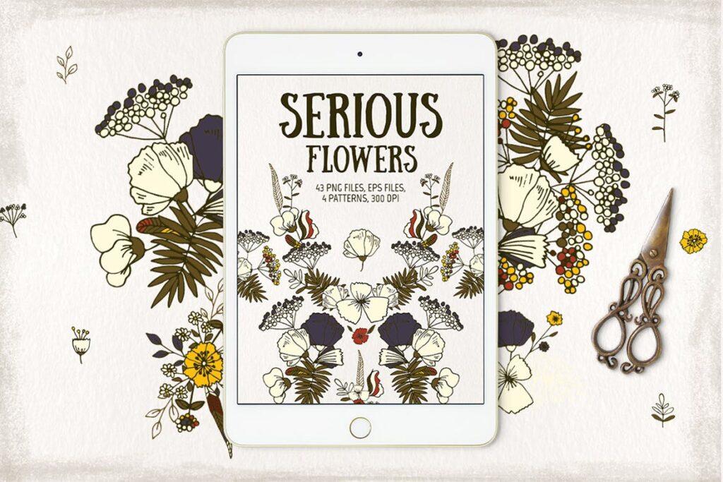 婚礼花卉装饰图案纹理下载Serious Flowers插图