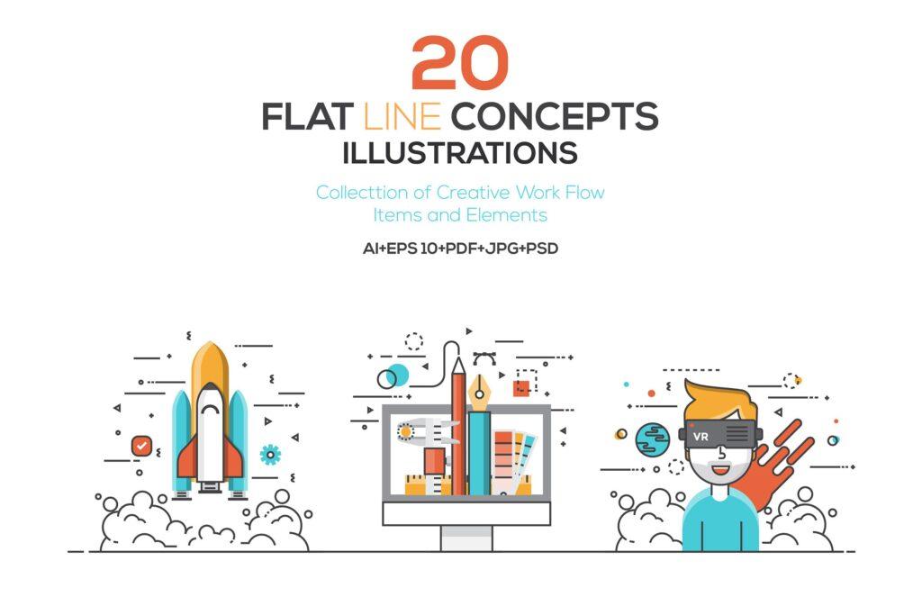 虚拟与现实主题场景插画素材Set of Flat Color Line Illustrations Tq2w4w插图