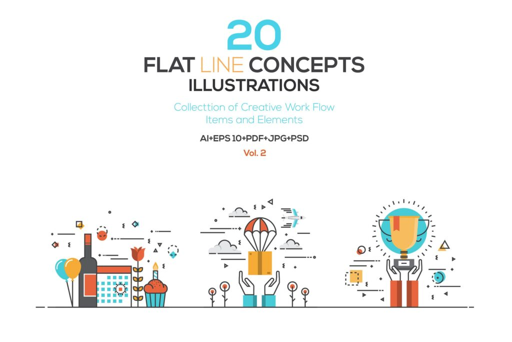 描边风创意场景插画素材下载Set of Flat Color Line Illustrations Qjxckk插图