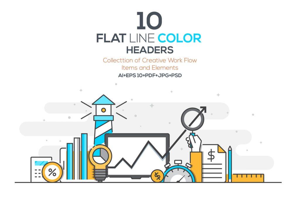 金融类企业数据描边风场景插画设计Set of Flat Line Color Banners Buwzlx插图