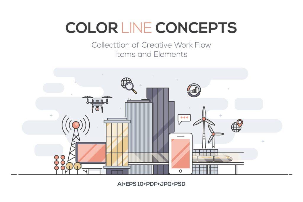 建筑施工类场景描边风创意插画Set of Flat Line Color Banners Design Concept插图