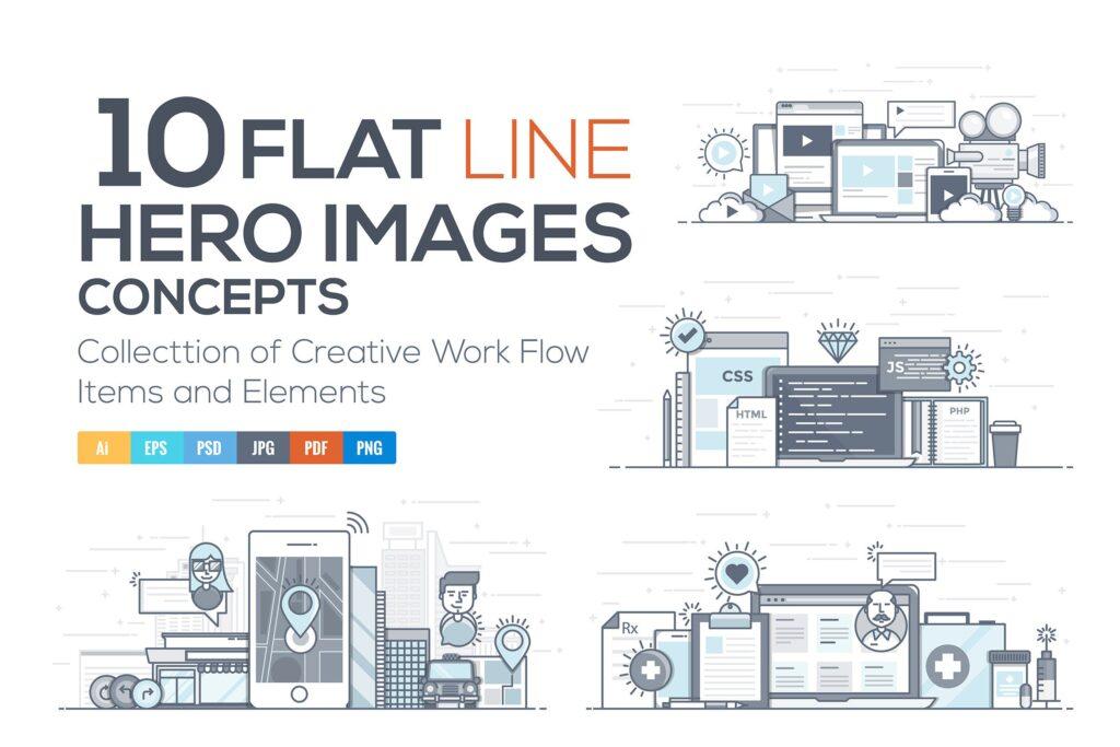 商务主题出行旅行场景插画素材下载Set of Flat Line Color Hero Design Concepts插图
