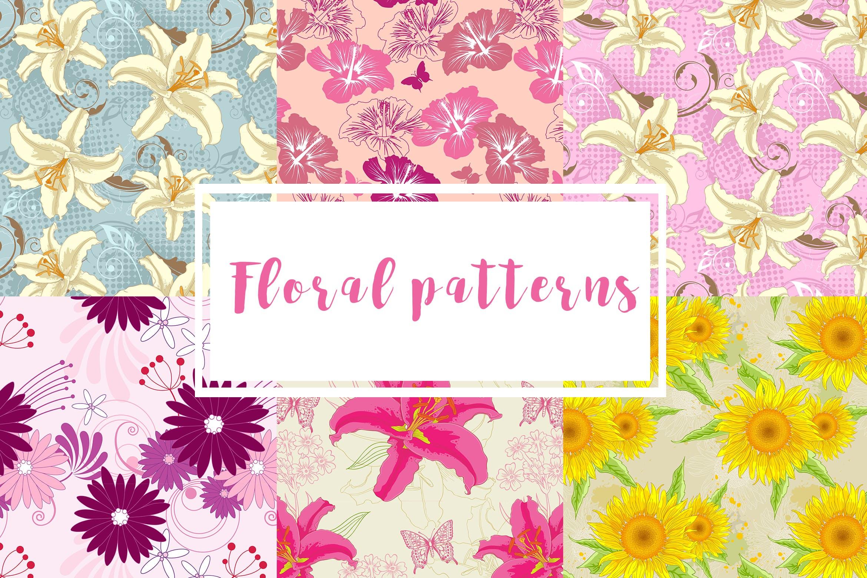 6款花卉无缝图案装饰图案素材Set of Floral Seamless Patterns插图