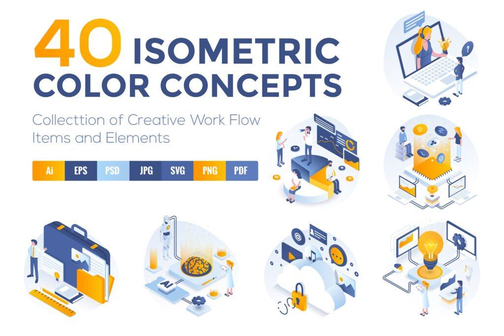 区块链概念主题2.5D创意场景插画设计Set of Modern Isometric Concepts插图