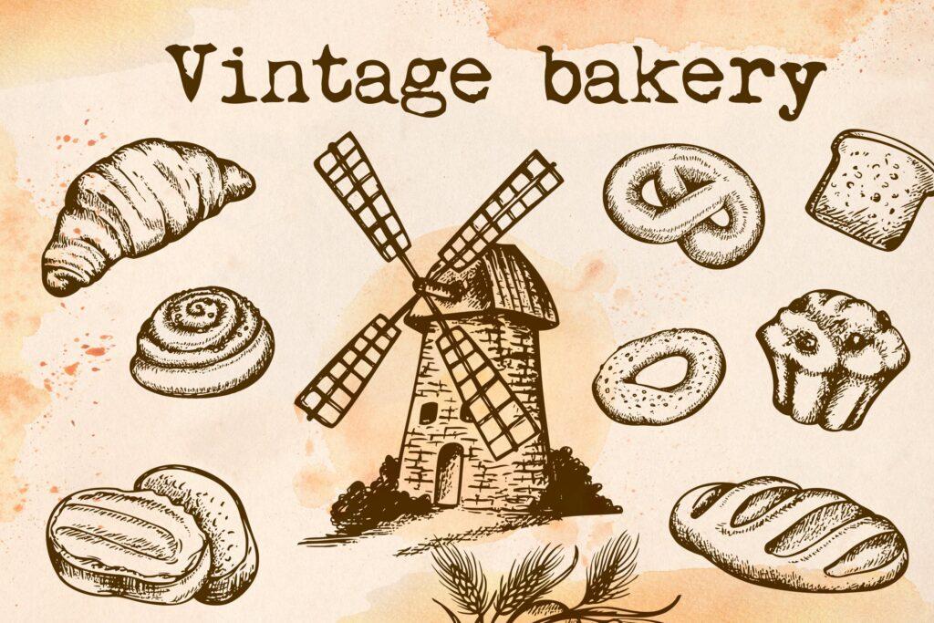 面包手绘复古风格素材包Set of Vintage Bakery插图