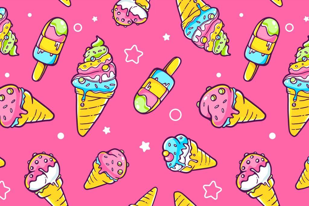 冰淇淋与星星创意插图元素组合粉红色和白色的背景展示Set of colorful patterns with ice creams插图