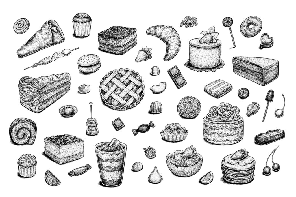 艺术复古水墨风格的手绘甜品图案Set of vector and raster desserts插图