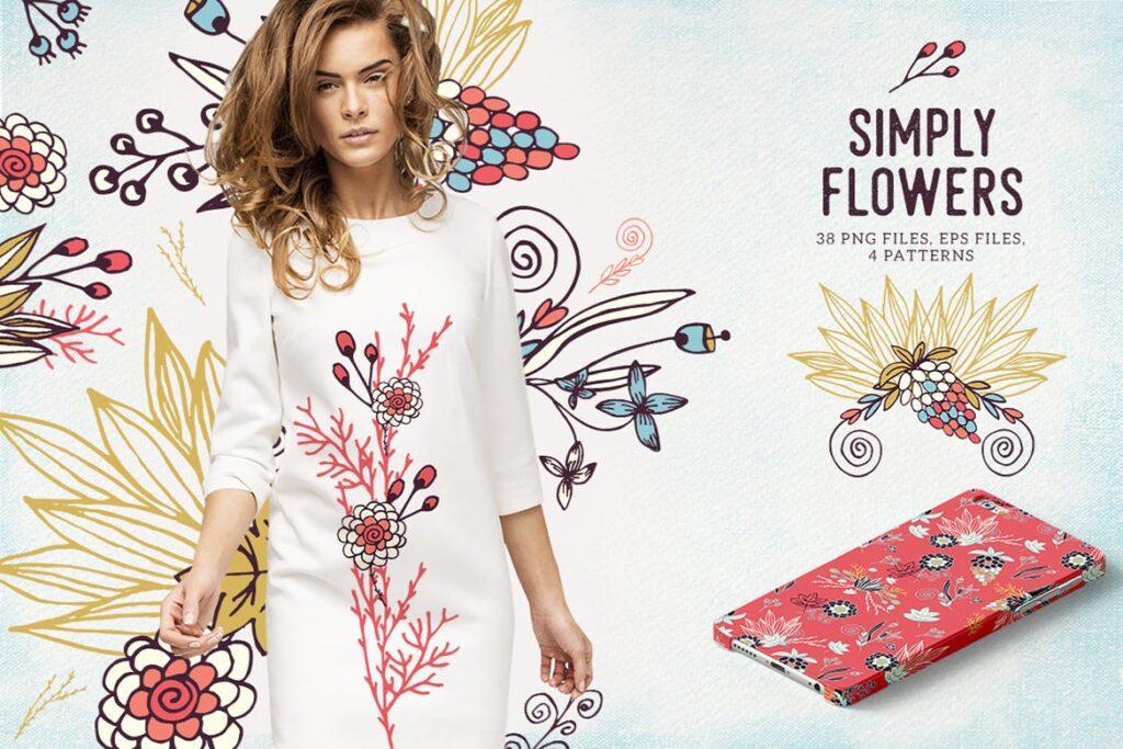 品牌墙纸花卉装饰图案花纹抱枕装饰图案Simply Flowers插图