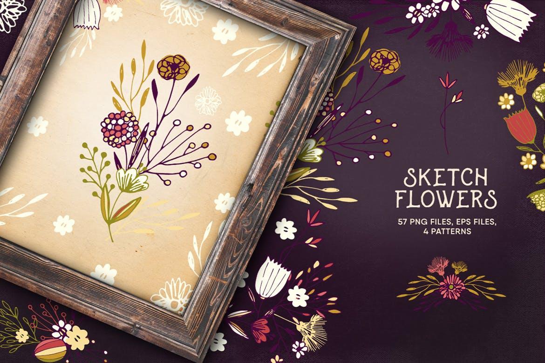 素雅植物图案花纹纹理素材展示Sketch Flowers插图