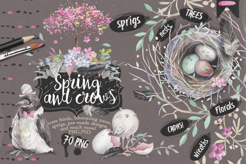 春天与乌鸦艺术创作作品集图案纹理素材下载Spring crows bundle插图