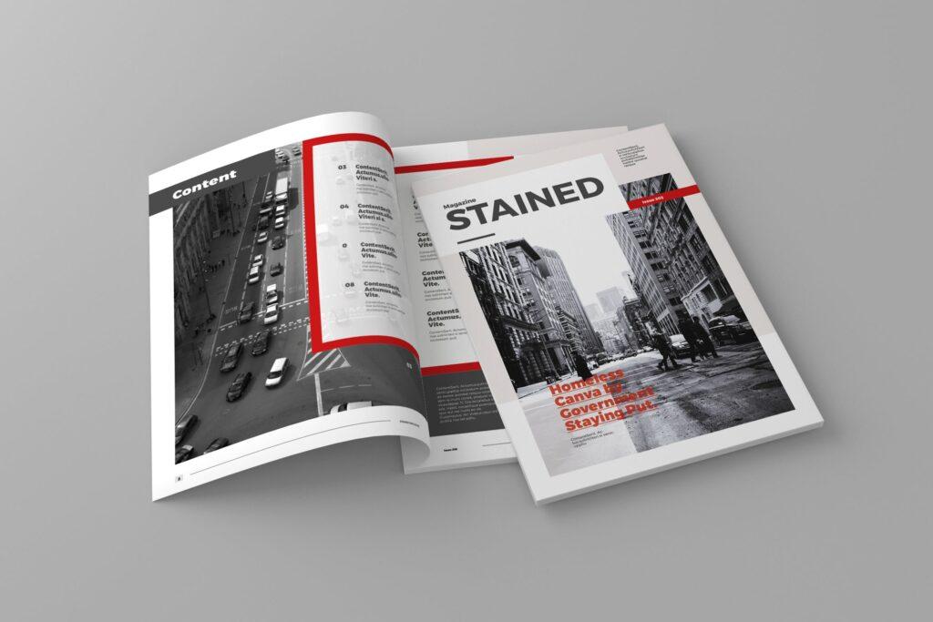 年代历史回忆录主题杂志模板素材Stained Magazine Template插图