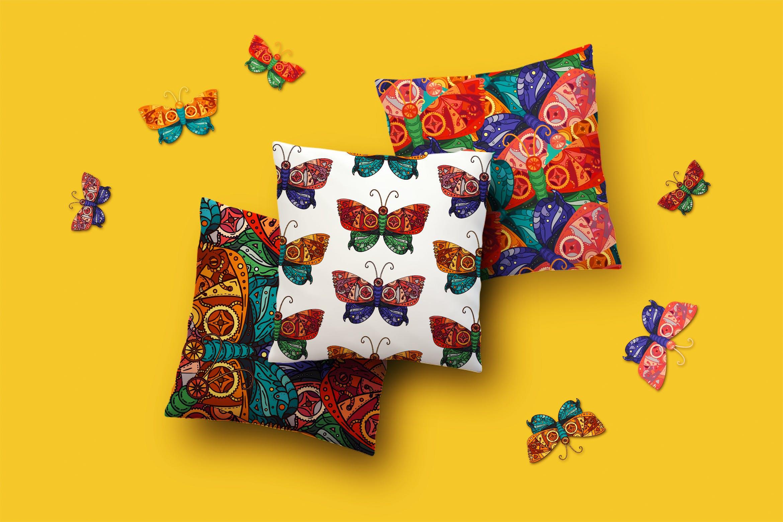 蝴蝶图案矢量素材插图Steampunk Butterfly Patterns Set插图