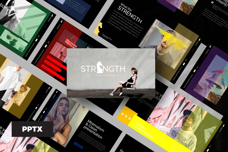 潮流时尚品牌企业宣传PPT幻灯片模板下载Strenght Black Powerpoint插图
