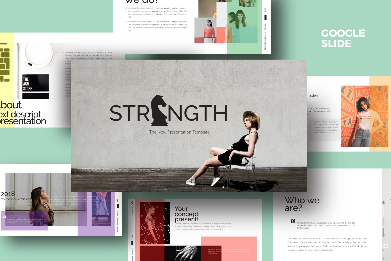 青春服装展览演示文稿模版trenght White Google Slide插图