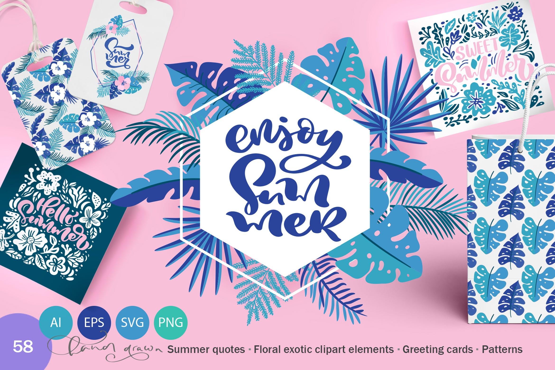 6个夏季无缝矢量图案素材图案纹理Summer Exotic Palm Design Elements SVG插图