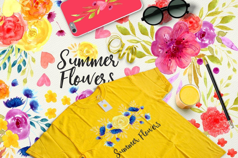 夏日鲜花水彩画元素装饰图案元素Summer Flowers插图