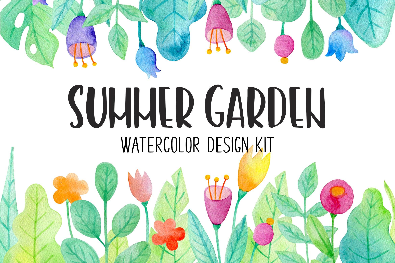 手绘水彩花卉图形元素装饰图案纹理花纹素材Summer Garden Watercolor Design Kit插图