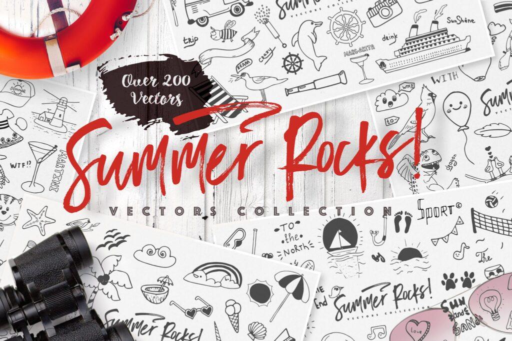 夏季主题元素装饰图案纹理下载Summer Rocks! Vectors Collection插图