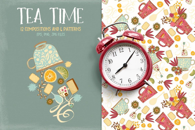 茶品类包装辅助图形图案元素图案/纹理装饰元素下载Tea Time插图