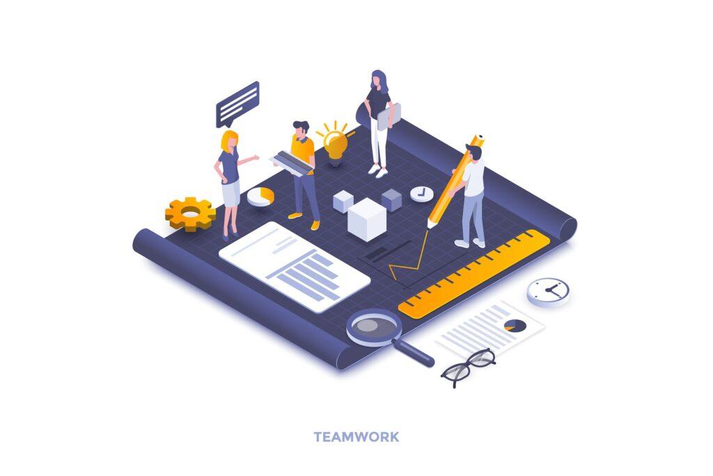 建筑设计2.5D场景插画团队合作下载Teamwork Up8mcl7插图