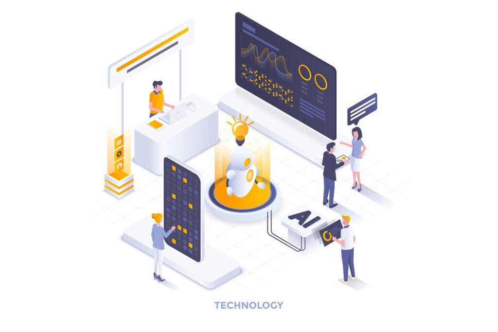 机器智能学习2.5D场景插画Technology Concept插图