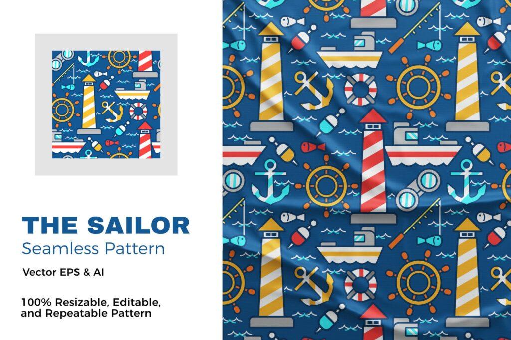 海上航船出行相关元素装饰图案素材The Sailor Pattern插图