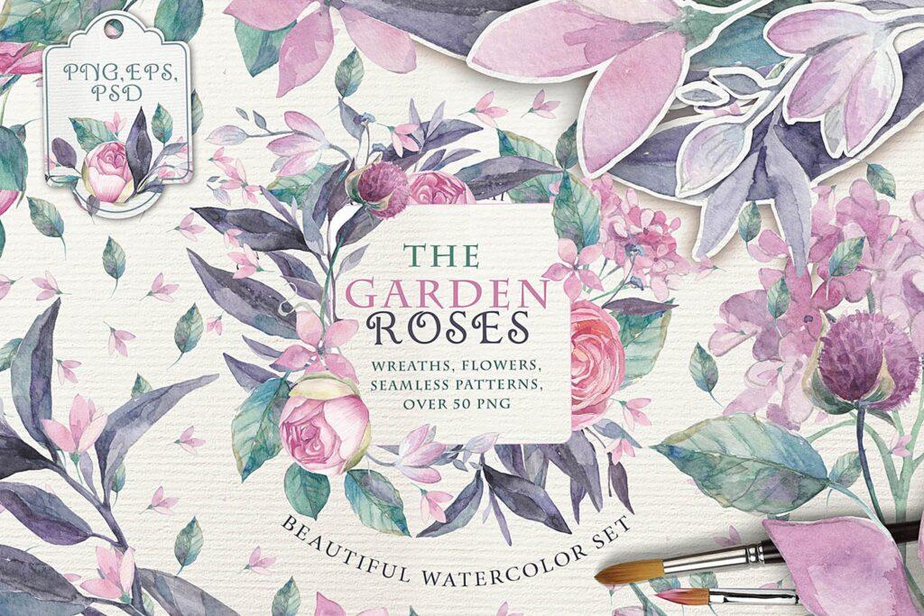 企业品牌装饰图案花卉/花圈/装饰图案The garden roses插图