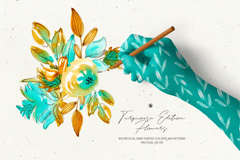 绿松石版水彩花/手绘水彩画/剪贴艺术图案Turquoise Edition Flowers插图