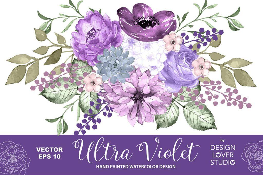 春天水彩花粉红色腮红花剪贴画装饰图案Ultra violet design vector插图