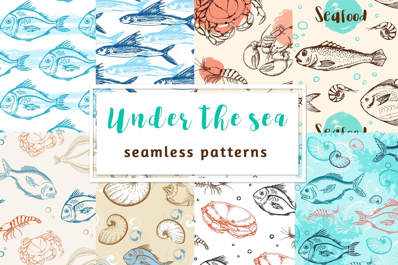 海洋生物元素矢量复古风手绘装饰图案Under the Sea Seamless Patterns插图