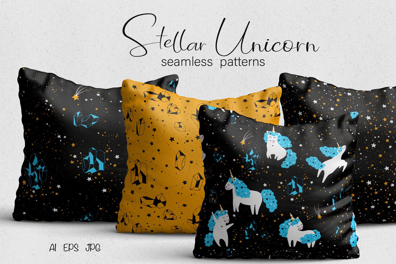 太空星辰系列抱枕创意图案Unicorn Seamless Patterns插图