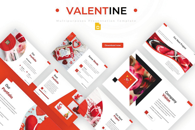 产品市场调研数据集PPT幻灯片模板下载Valentine Google Slides Template插图