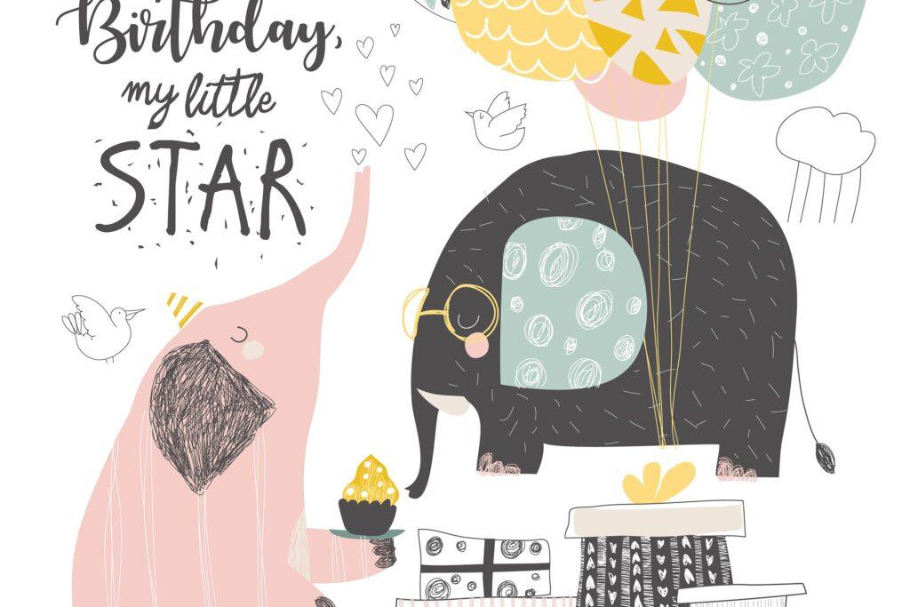 可爱的大象和气装饰图案花纹Vector Greeting Birthday card with cute elephants插图