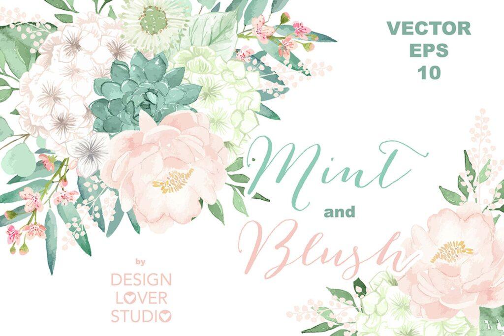 水彩手绘花卉水彩剪贴画Vector Watercolor Mint and Blush clipart插图
