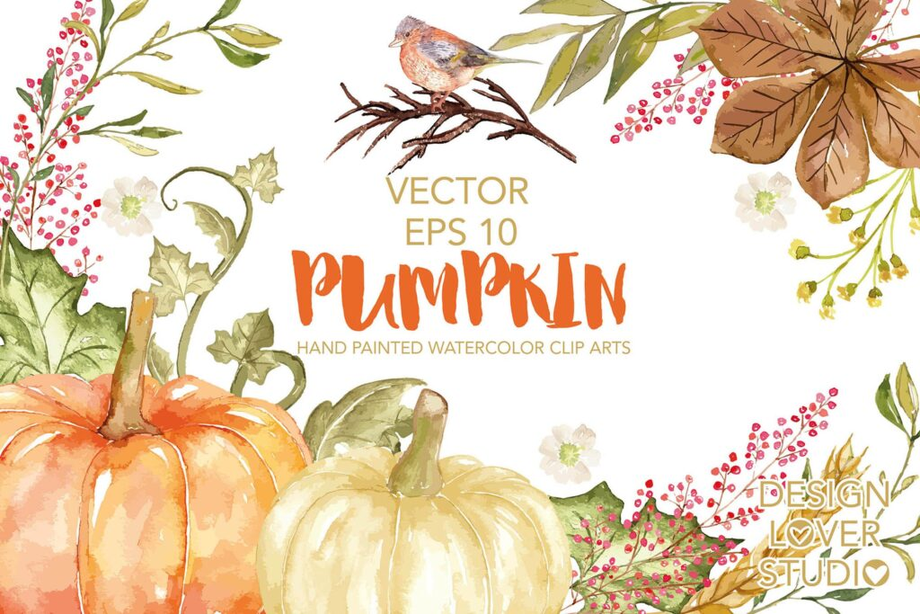 秋季丰收主题装饰图案Vector Watercolor Pumpkin clip arts插图