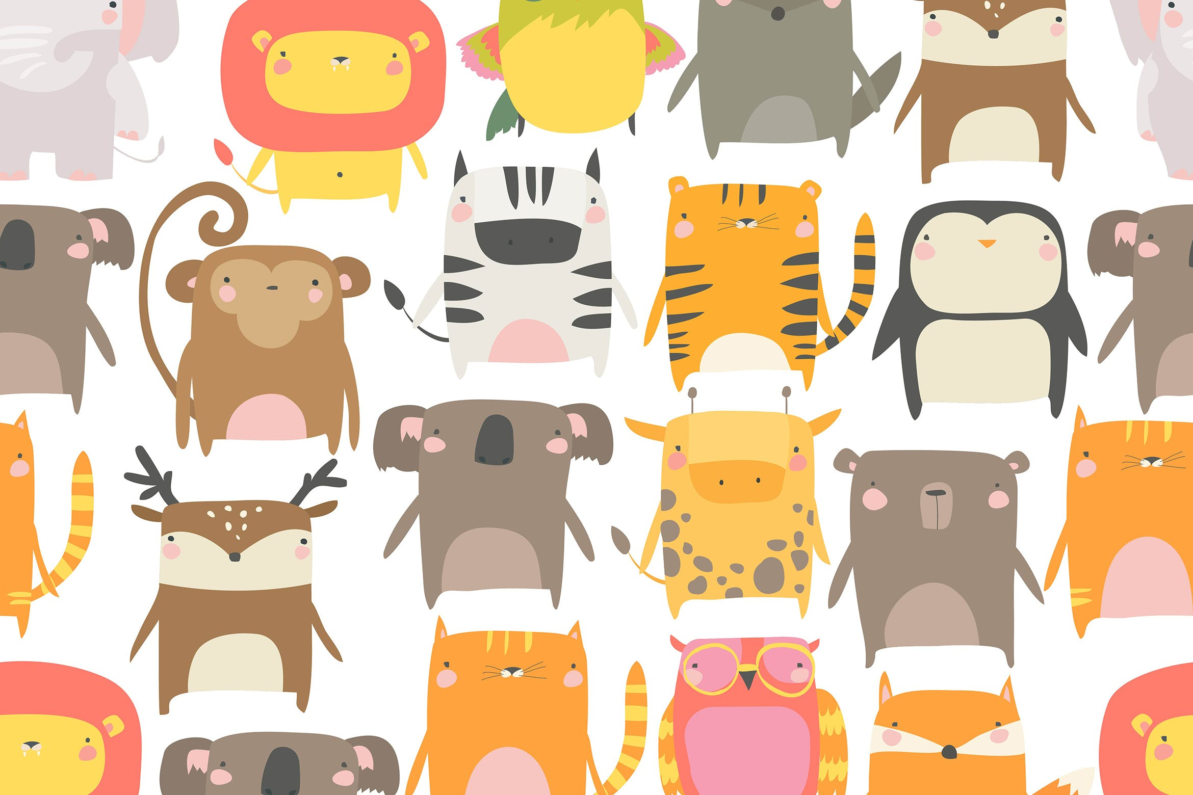 Vector seamless pattern with cute animals on white插图