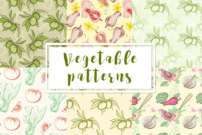 蔬菜类复古风手绘图案装饰怨言Vegetable Seamless Patterns插图