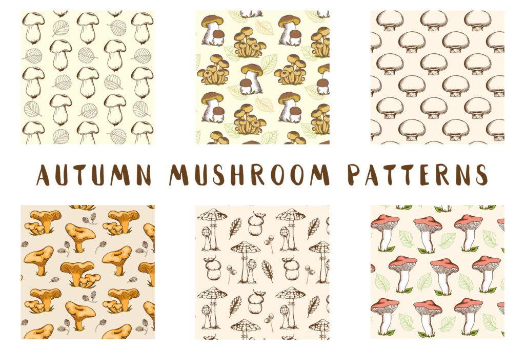 六款复古手绘矢量秋蘑菇无缝图案Vintage Autumn Mushroom Patterns插图