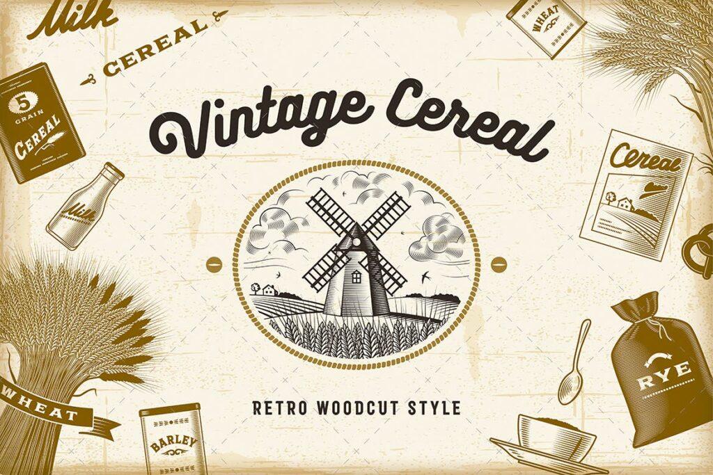木刻风格的复古谷物杂粮类元素Vintage Cereal Set插图