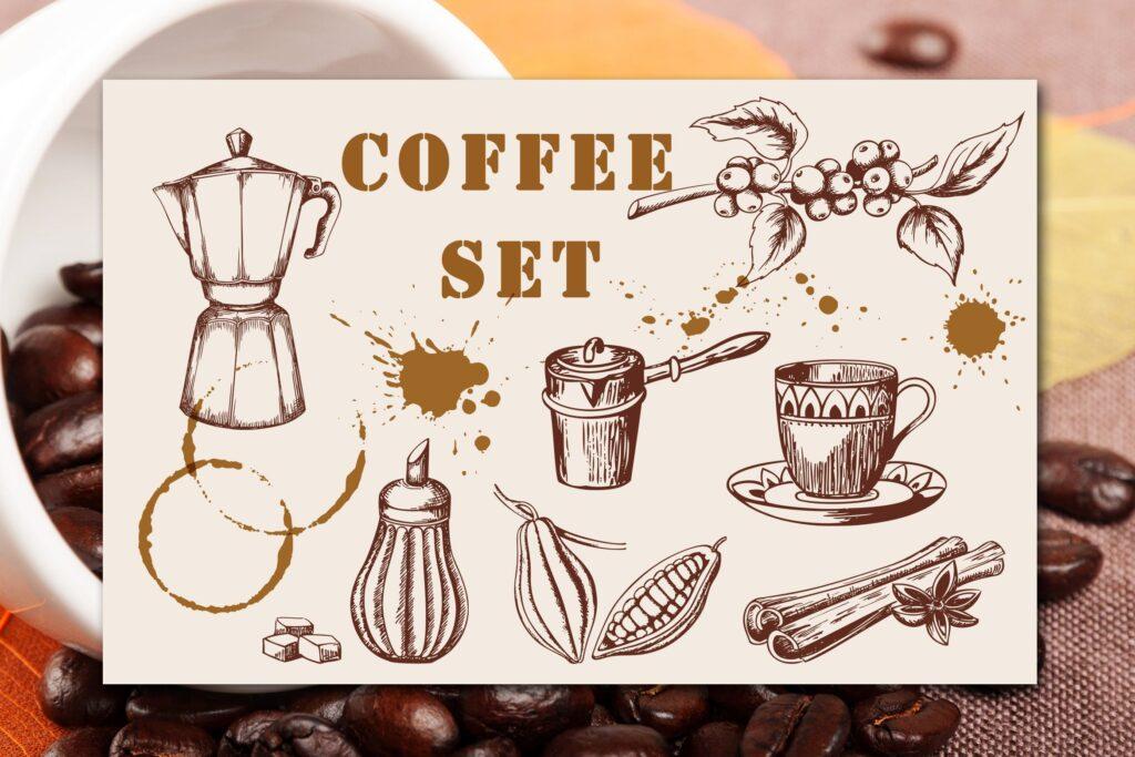 手工绘制的复古风格咖啡的集合Vintage Coffee Set插图