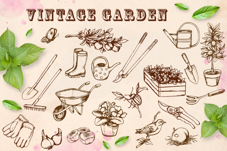 手绘矢量园林工具复古风格元素Vintage Garden插图
