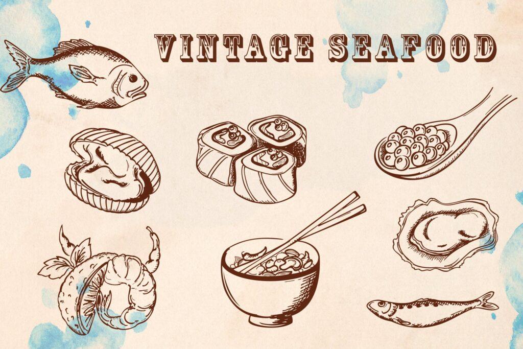 手绘矢量海鲜在复古风格Vintage Seafood插图