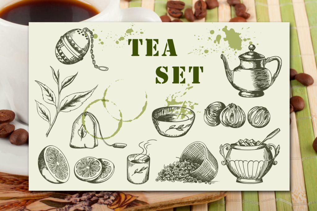手绘矢量茶具复古风格装饰图案Vintage Tea Set插图