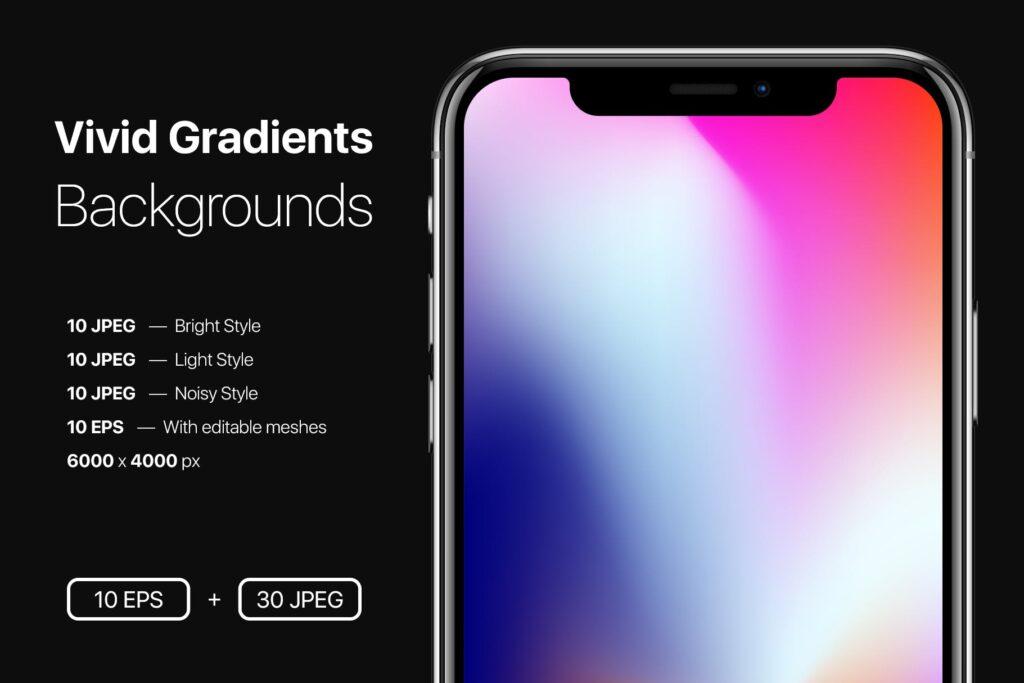 多彩渐变背景手机壁纸渐变背景主题元素下载Vivid Gradients Backgrounds插图