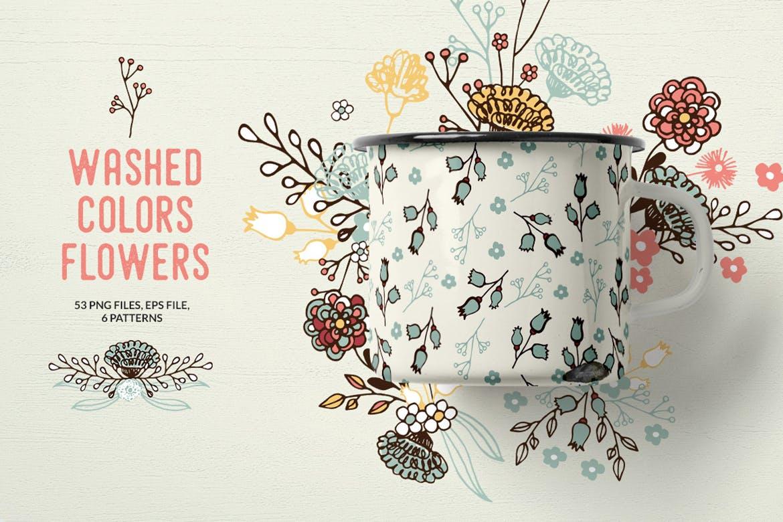 服装文艺印刷用品花纹素材模板下载Washed Colors Flowers插图