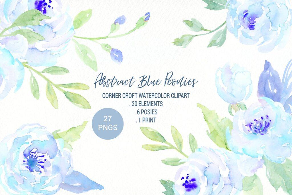 蓝色牡丹水彩图案纹理图案下载Watercolor Blue Peony Collection插图