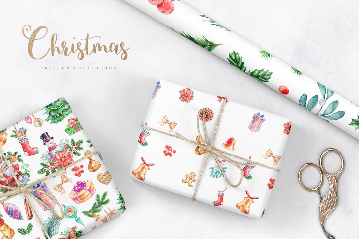 华丽水彩圣诞新年插图装饰图案下载Watercolor Christmas Patterns插图