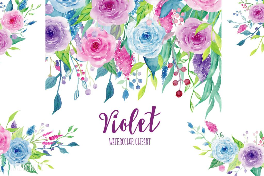 水彩紫罗兰系列主题装饰图案Watercolor Clipart Violet Collection插图