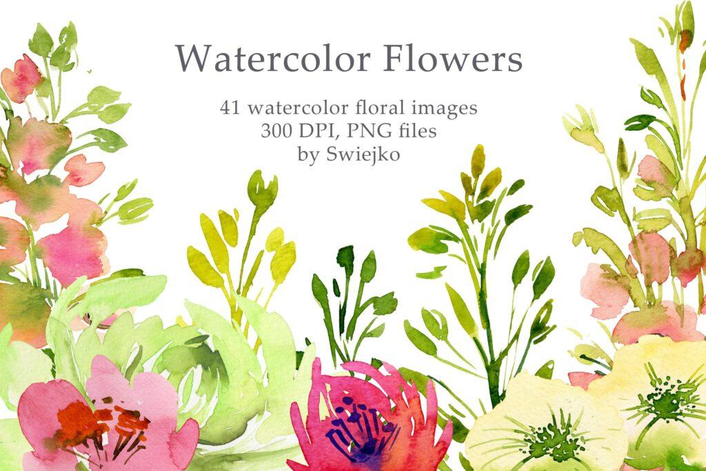 手绘水彩玫瑰画绿植花卉装饰图案Watercolor Country Flowers插图