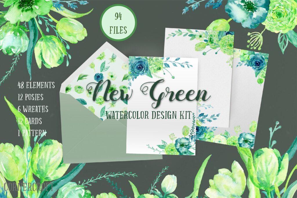 手绘水彩设计工具包全新企业品牌装饰图案花纹Watercolor Design Kit New Green插图